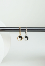 Wildthings Collectables Yin Yang enamel coin earring silver