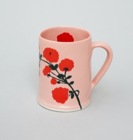 Bernadette Bernadette Wide mug red blossom on pink