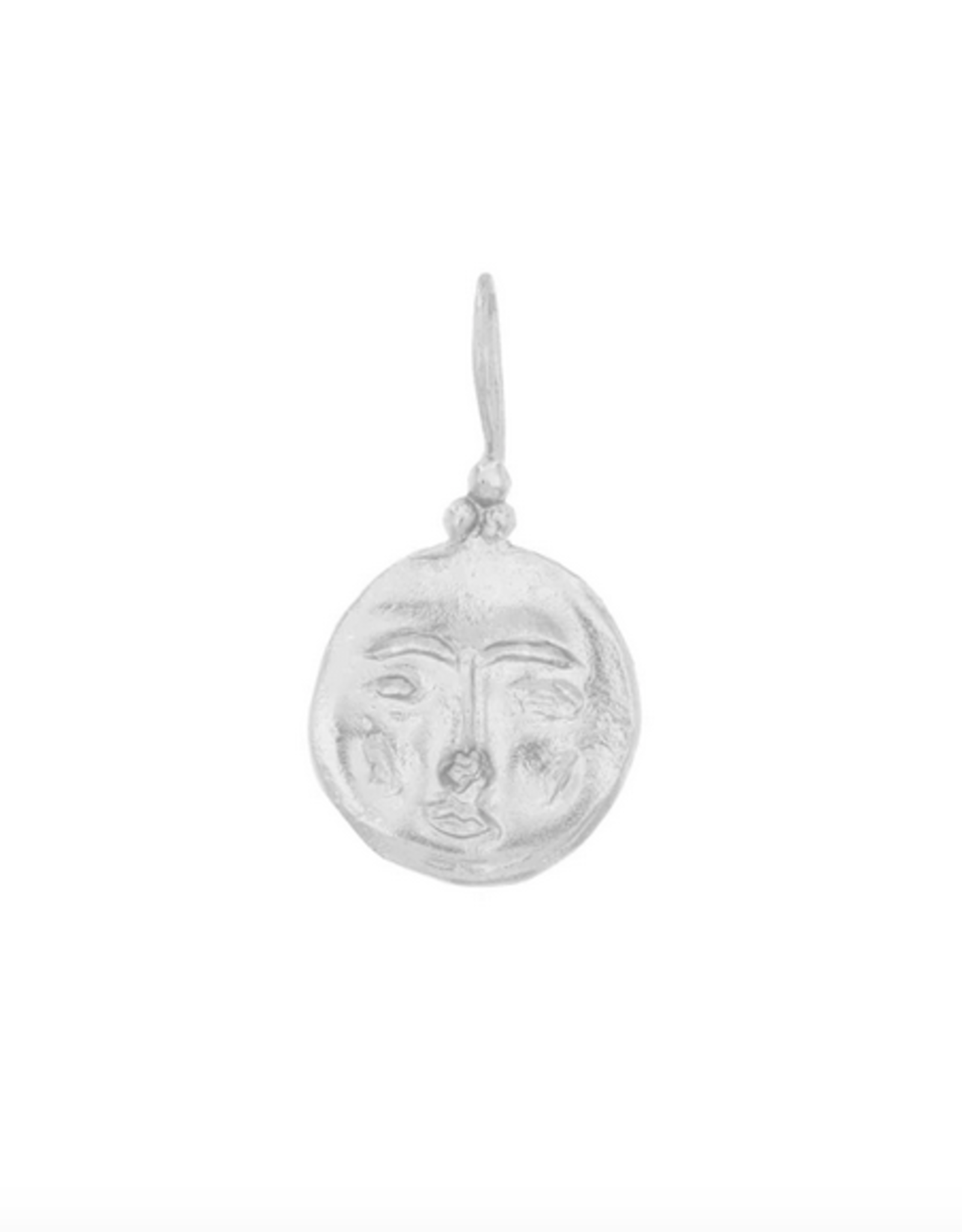 Cleopatra's Bling Moon Face Pendant Silver Necklace