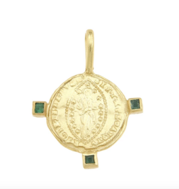 Cleopatra's Bling Byzantine Mandorle Medallion with Three Emeralds Goldplated Necklace