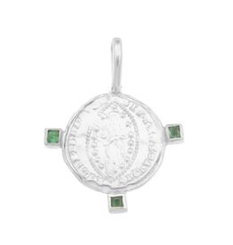 Cleopatra's Bling Byzantine Mandorle Medallion with Three Emeralds Silver Necklace