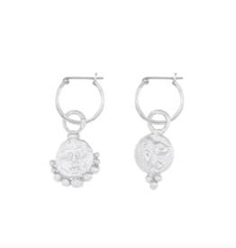 Cleopatra's Bling Gorgoneion Lion Hoops silver