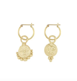 Cleopatra's Bling Gorgoneion Lion Hoops goldplated