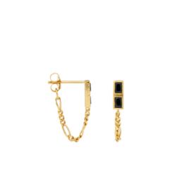 Anna + Nina Single Darkness Stud Chain Earring Goldplated