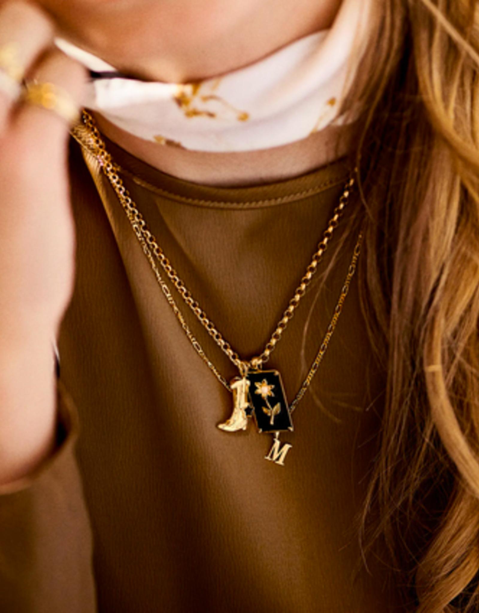 Anna + Nina Cowboy Boot Necklace Charm Silver