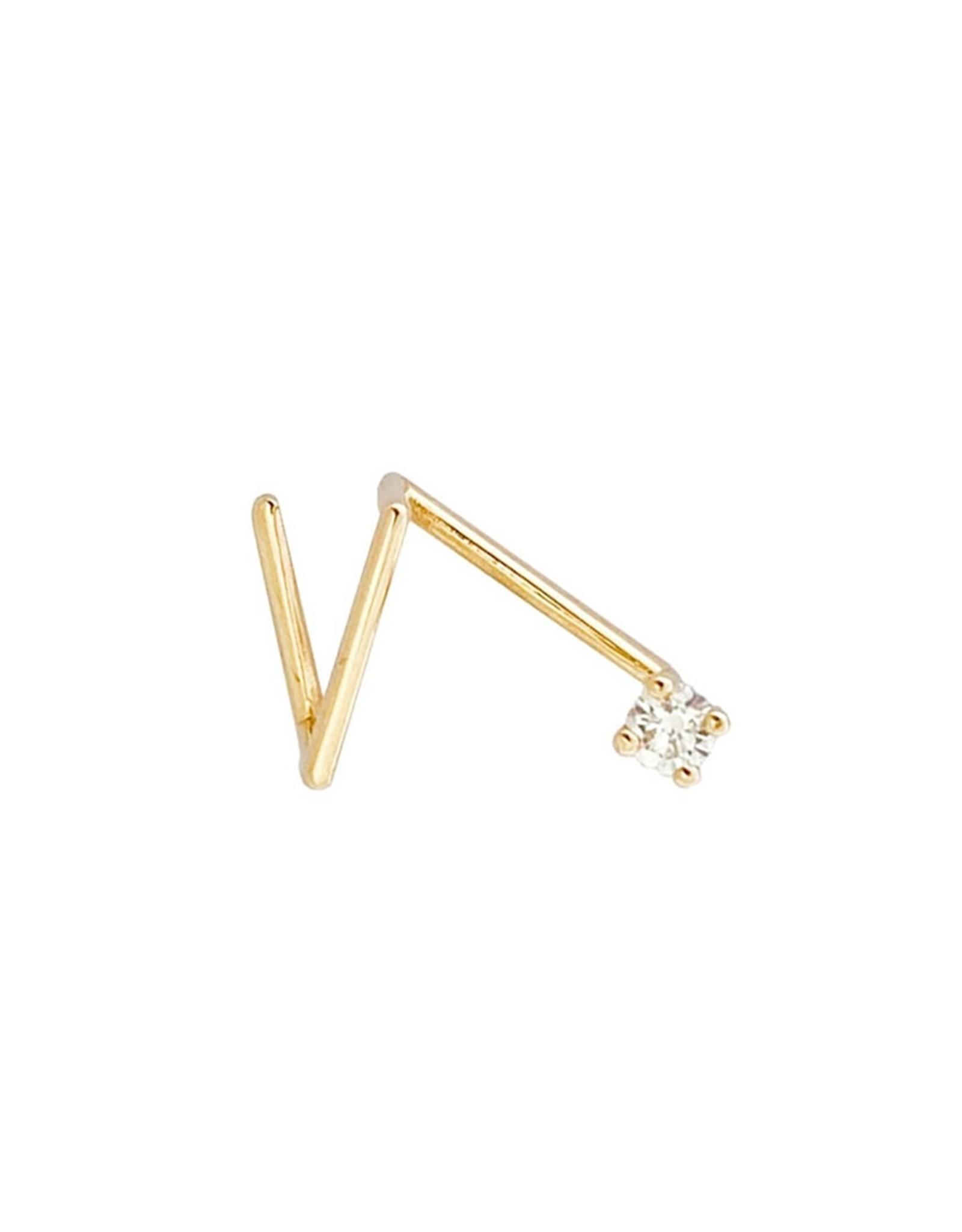 Sansoeurs Z 2'5 mm diamond  gold earring (left ear)
