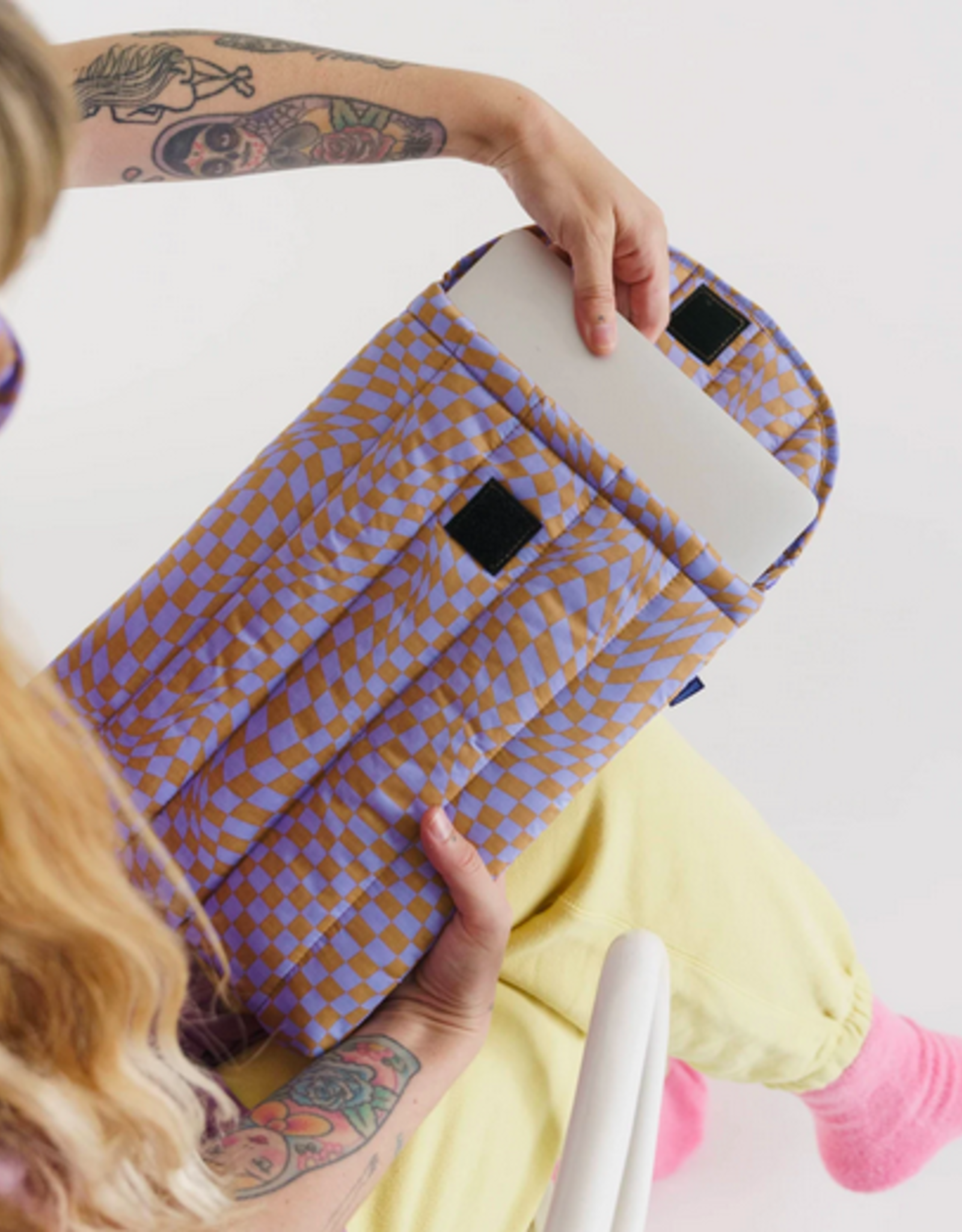 Baggu Puffy laptop sleeve Lavender trippy checker 13 inch