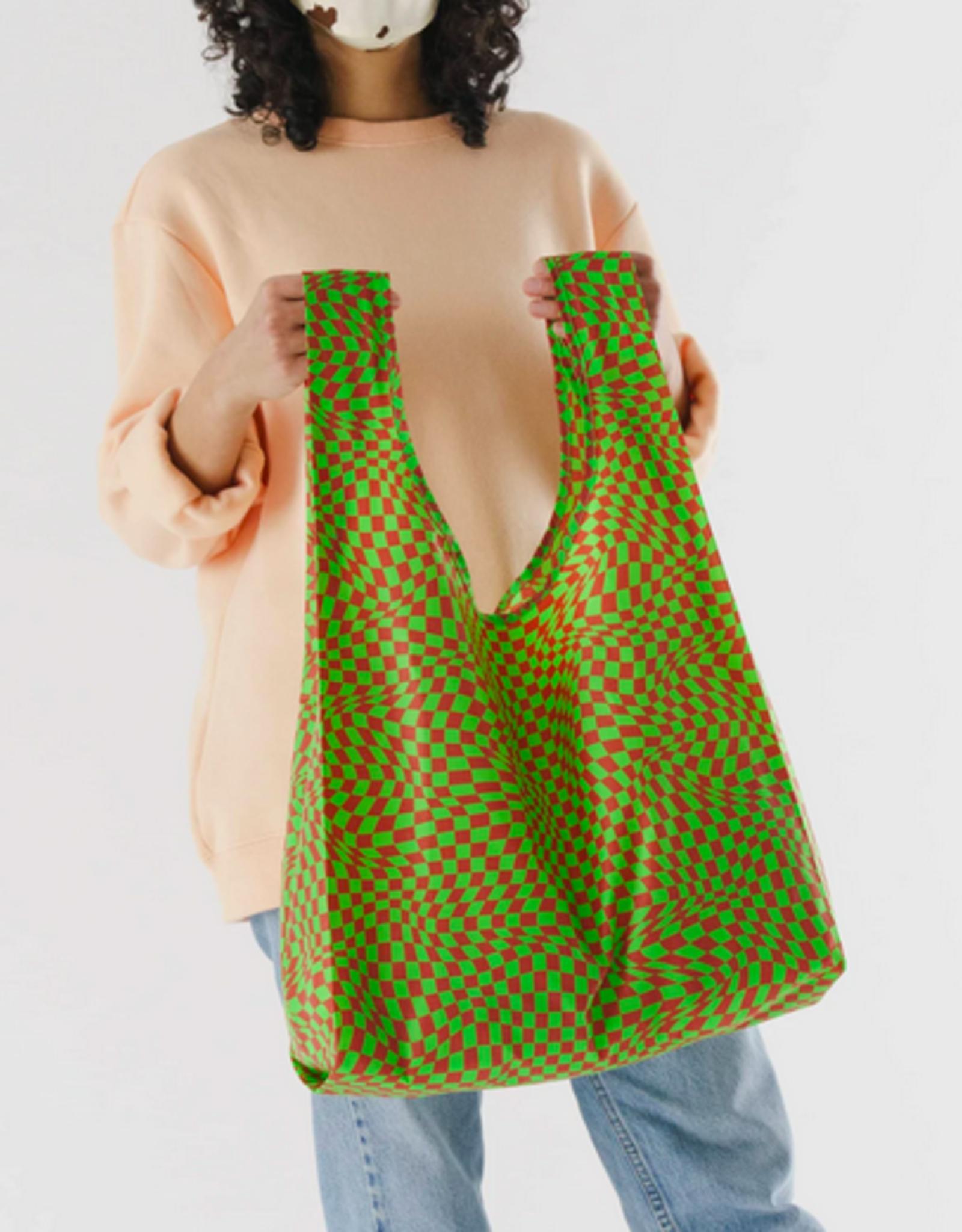 Baggu Reusable bag green trippy checker