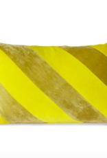 HK Living Striped velvet cushion yellow/green (40x60)