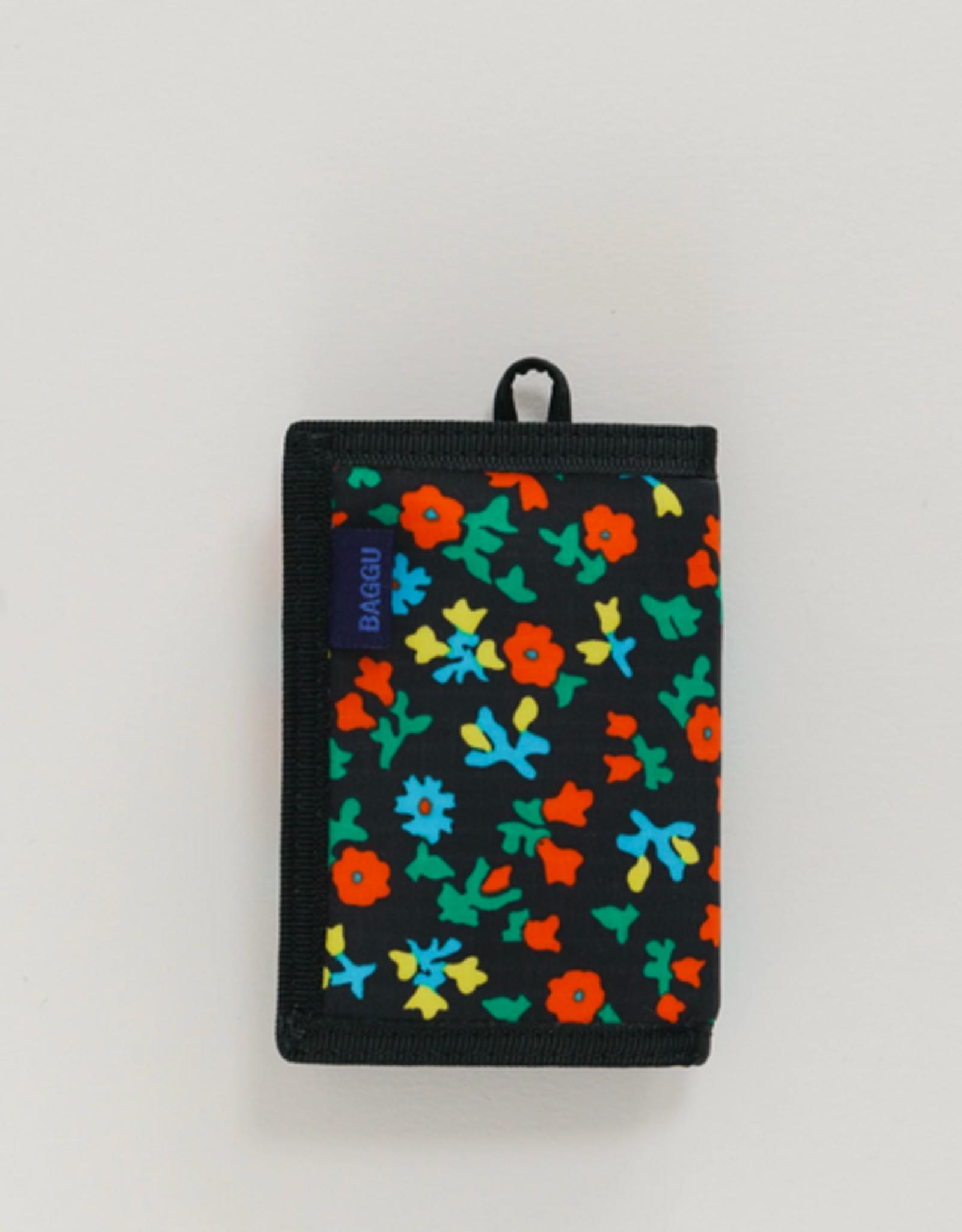 Baggu Nylon wallet black calico floral
