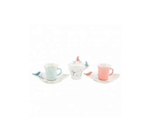 BRICARD PORCELAIN BRICARD BIRD ESPRESSO SET 6-DELIG