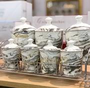 cinar 15-delige Kruidenset Marmer Grijs | Cinar CNR-2357