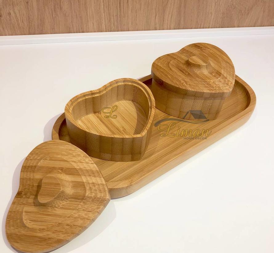 bamboe 4-delige schalenset hart 21 x 10 cm