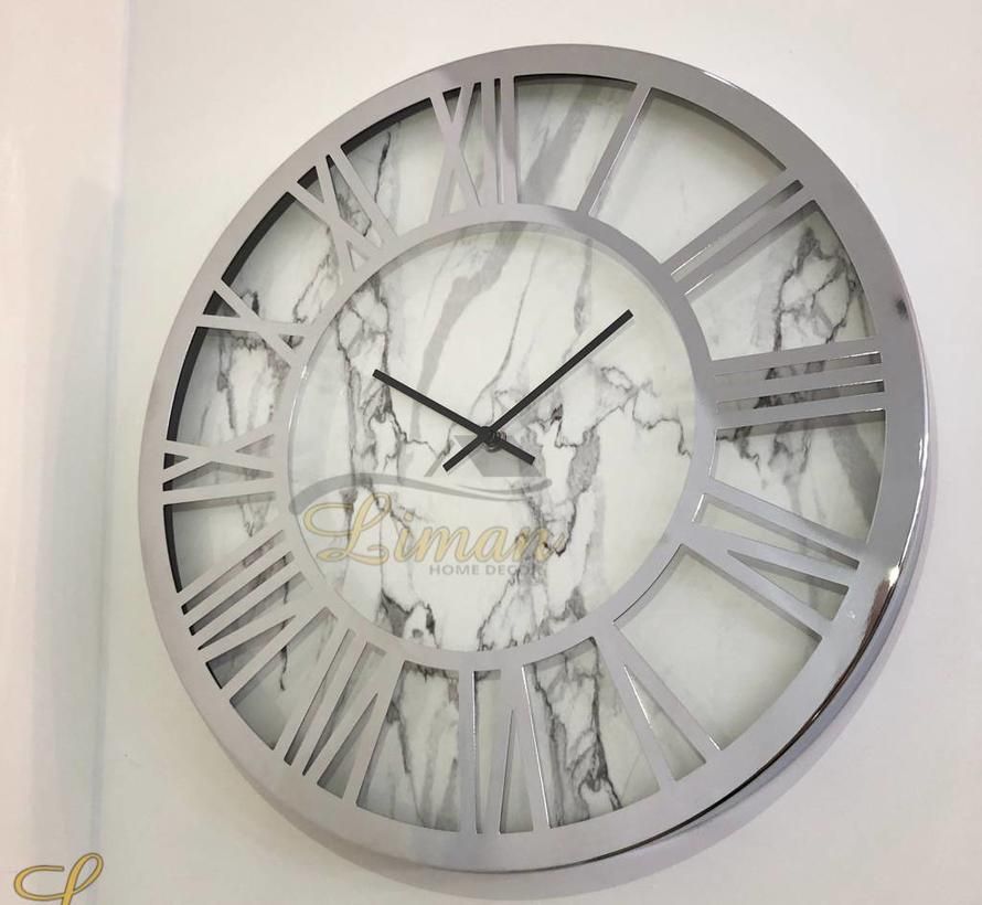 Marmer design wandklok 40 x 40 cm Wit