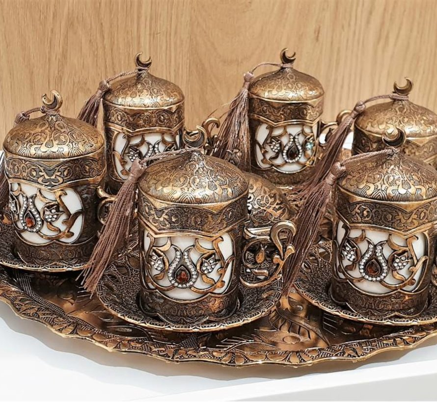 LUXE OTTOMAN TURKSE KOFFIESET 6 PERSOONS BRONS