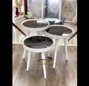 Bijzettafel Ronde 3 Delig Set Marmer Design Zwart