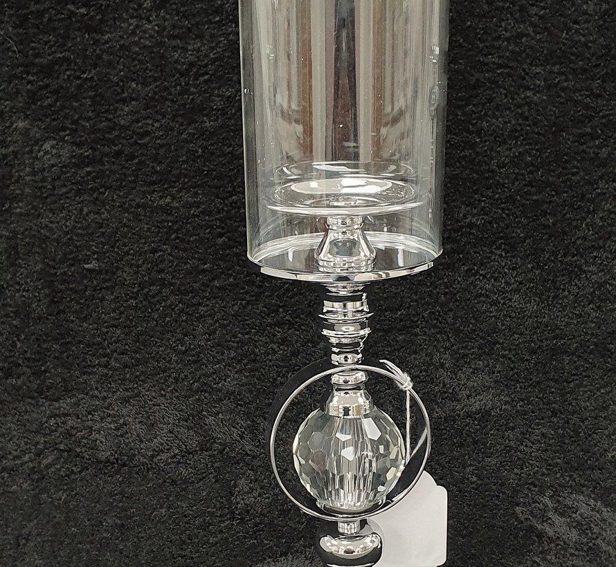 KANDELAAR ZILVER-M 12x12x41 cm