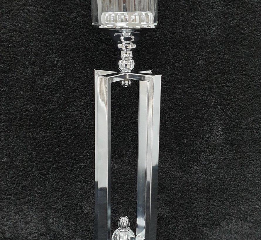 KANDELAAR ZILVER-L 12x12x60 cm