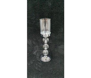 KANDELAAR ZILVER-L 11x11x37.5 cm