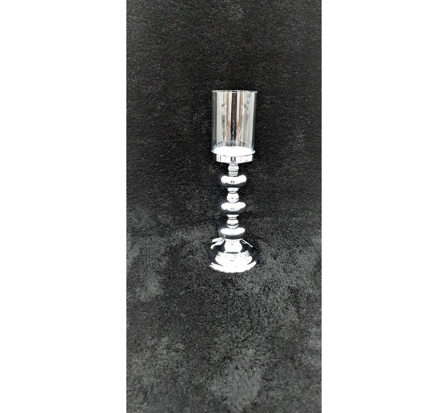 KANDELAAR ZILVER -S 11.5x11.5x34 cm