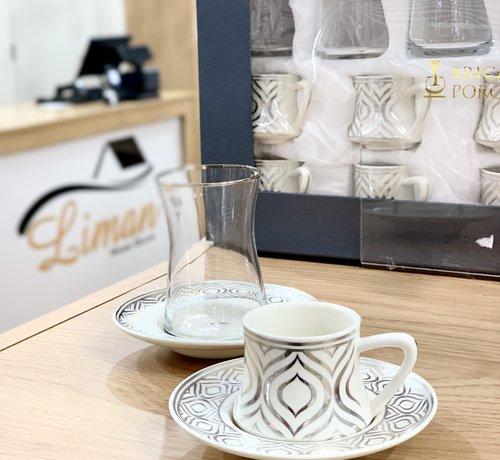 BRICARD PORCELAIN Bricard Ottomans Zilver 18 Delig Thee-Espressoset