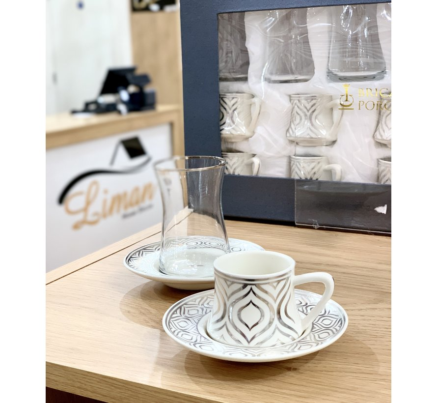 Bricard Ottomans Zilver 18 Delig Thee-Espressoset