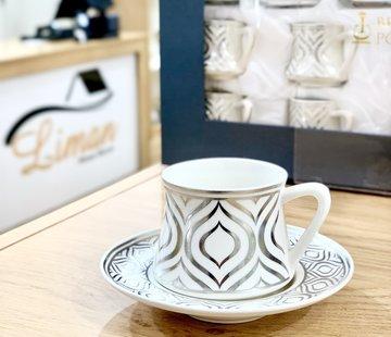 BRICARD PORCELAIN Bricard Ottomans Zilver 12 Delig Koffieset