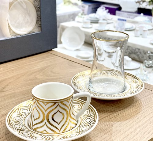 BRICARD PORCELAIN Bricard Ottomans Gold 18 Delig Thee-Espressoset