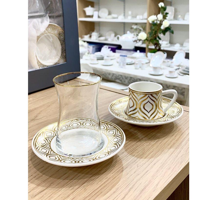Bricard Ottomans Gold 18 Delig Thee-Espressoset
