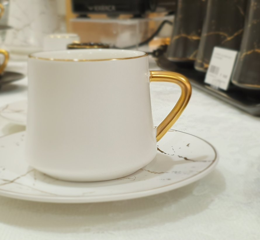 La Otantik Luxe Marmer Koffies set 12-Delig | 6-Persoons Wit