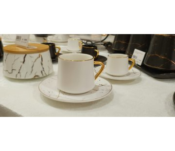 La Otantik La Otantik Luxe Marmer Koffies set 12-Delig | 6-Persoons Wit