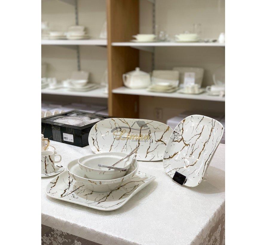 Bricard Porcelain Marbel 6-Persoons | 25-Delig Serviesset  Wit