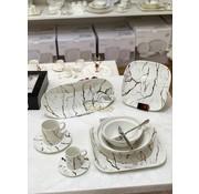 BRICARD PORCELAIN Bricard Porcelain Marbel  6-Kisilik | 25-parça Yemek Takımı Beyaz