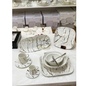 BRICARD PORCELAIN Bricard Porcelain Marbel 6-Persoons | 25-Delig Serviesset  Wit