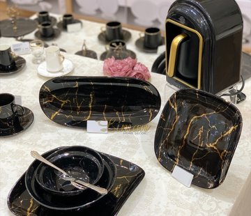 BRICARD PORCELAIN Bricard Porcelain Marbel 6-Persoons | 25-Delig Serviesset Zwart