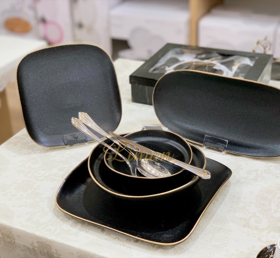 Bricard Porcelain Evry 6-Persoons | 25-Delig Serviesset Zwart