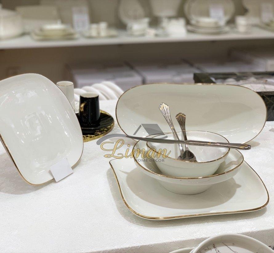 Bricard Porcelain Evry Wit - Goud 6-Persoons   25-Delig Serviesset