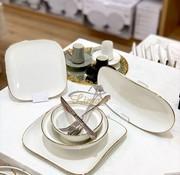 BRICARD PORCELAIN Bricard Porcelain Evry Wit - Goud 6-Persoons | 25-Delig Serviesset