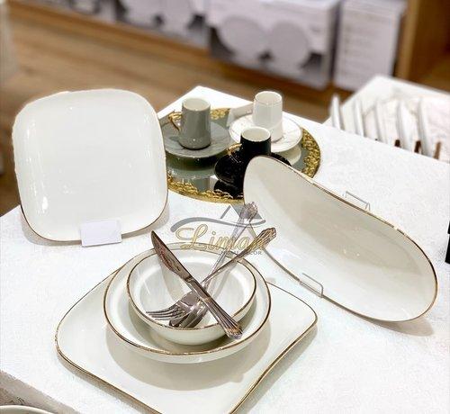 BRICARD PORCELAIN Bricard Porcelain Evry Wit - Goud 6-Persoons   25-Delig Serviesset