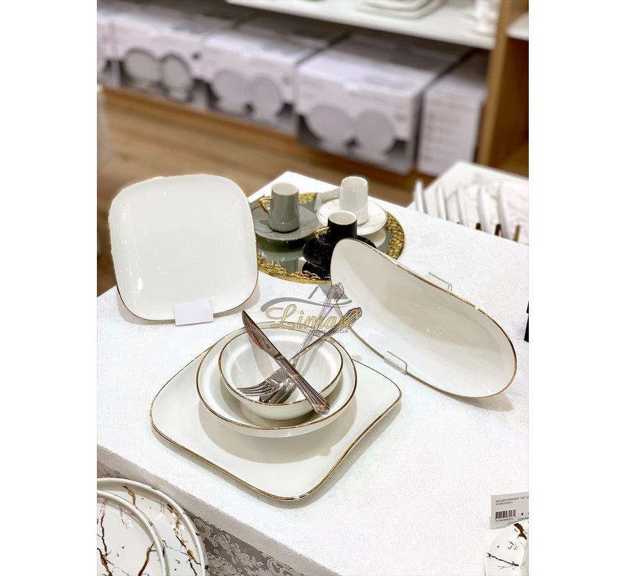 Bricard Porcelain Evry Wit - Goud 6-Persoons | 25-Delig Serviesset
