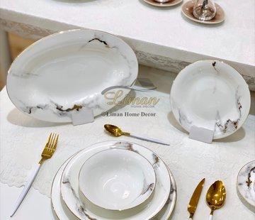 BRICARD PORCELAIN Bricard Porcelain Drancy 6-Persoons | 25-Delig Serviesset Marmer
