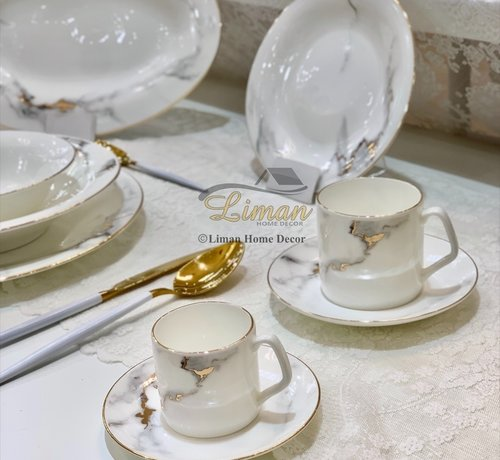 BRICARD PORCELAIN BRICARD DRANCY ESPRESSO SET 12-DELIG
