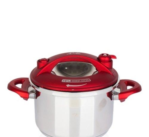 ACR ACR Karat Snelkookpan 2.5 Lt  Rood+ Extra glazen deksel