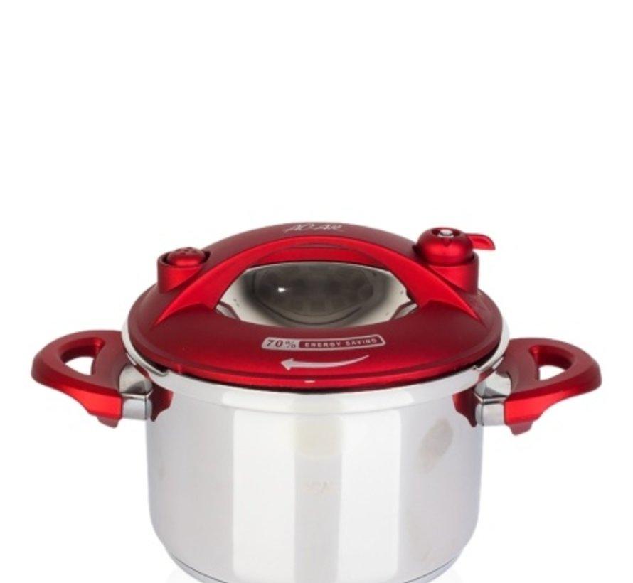 ACR Karat Snelkookpan 2.5 Lt  Rood+ Extra glazen deksel