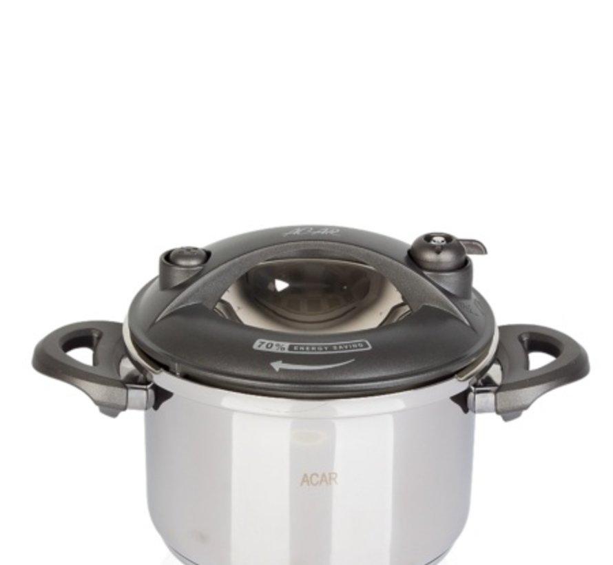 ACR Karat Snelkookpan 2.5 Lt  Grijs + Extra glazen deksel