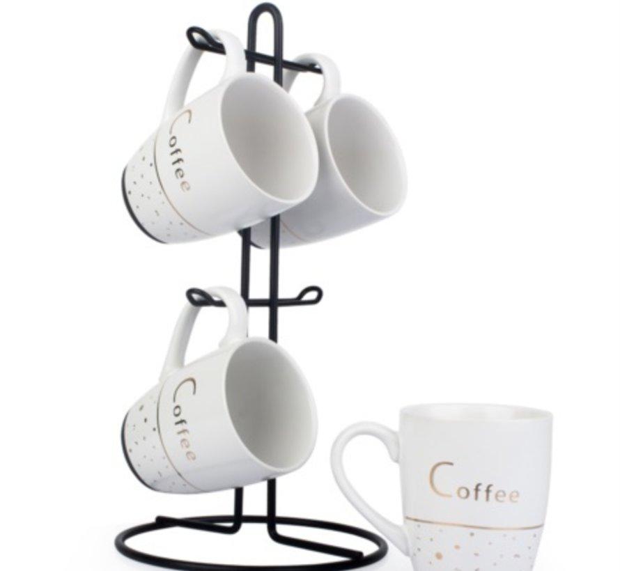 ACR Zwart metal stand 4 persoons Nescafe set