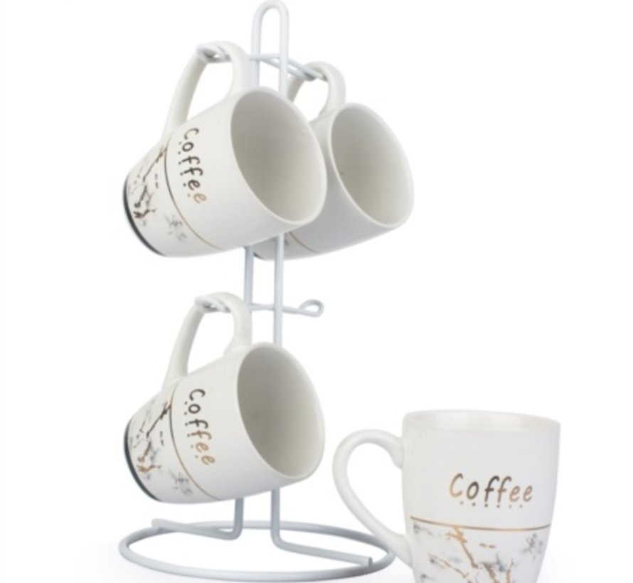 ACR Wit Metal stand 4 persoons Nescafe set