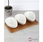 ACR ACR 4 delig Snackschaal Met Bamboe Serveerschaal