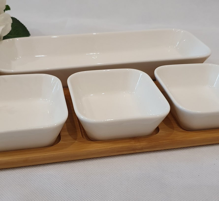 ACR 5 Delig Ontbijtset Met Bamboe Serveerschaal