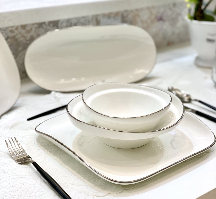 Bricard Porcelain Evry 6-Persoons | 25-Delig Serviesset Wit - Zilver